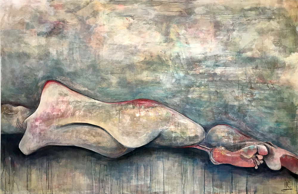 Love's Slumber , mixed media on canvas, 72x48, $5400  + inquire