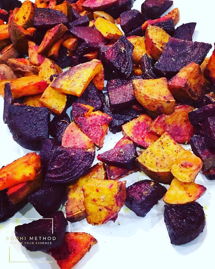 """TURMERIC SAGE ROASTED BEETS AND SWEET POTATOES - A Power Packed Recipe you don't want to miss out on! One of my favorites for Dinner. Turmeric and Sage on Roasted Beets and Sweet Potatoes.I love all the great health benefits Turmeric, Beets, and Sweet Potatoes have to offer. If you are wanting to improve your digestive health, looking to lose weight, and want healthier looking skin, this recipe is a must to add into your weekly meal planning.Check out below for all the amazing health benefits and recipe.Turmeric is an ancient spice from India. It carries the active component called curcumin. Curcumin is used to help treat many different health conditions such as depression symptoms, promote weight loss to help prevent obesity, boost skin health (wounds and acne), aid in detoxification, and helps manage Inflammatory Bowel Diseases.Beets also, provide amazing holistic health benefits to our digestive health because, they are packed in fiber. Fiber is great for our digestive system. When we eat healthy fiber from beets and it passes through the IG Tract it feeds the """"Good Gut Bacteria"""". This helps keep the digestive system healthy, preventing constipation, inflammatory bowel diseases and diverticulitis.Sweet Potatoes are a Low Glycemic Index Food. This means it is a slow releasing of carbohydrates (sugars). Which, helps the body maintain a healthy balanced source of energy without blood sugar spikes that cause fatigue and weight gain.Turmeric and Sage on Roasted Beets and Sweet Potatoes Recipe to help you maximize your health and wellness goals.Ingredients2 cups diced beets2 cups diced sweet potatoes4 Tbsp Olive Oil2 Tbsp Turmeric1 Tbsp Sage1 Tsp black pepper1 Tsp Pink Himalayan Sea SaltInstructions:1. Cut up beets and sweet potatoes.2. Combine together in large bowl.3. Add in olive oil and coat vegetables well with oil.4. Add turmeric, Sage, salt and pepper - mix well cover beets and sweet potatoes5. Spread over over a lightly oiled baking sheet.6. Pre-heat oven to 42"""