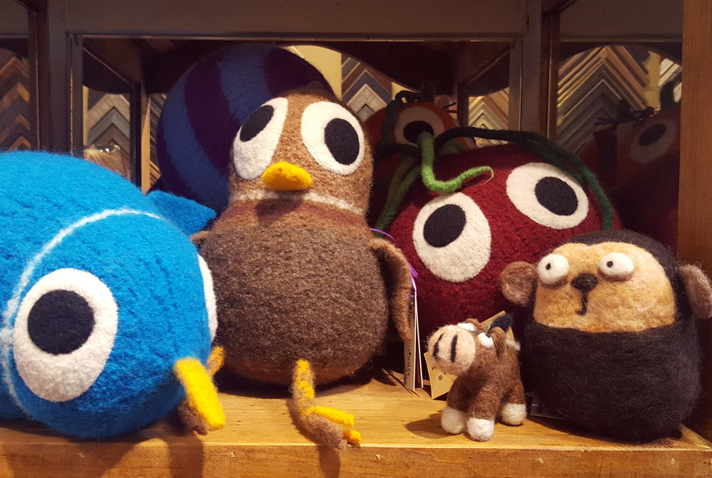 """Snooter Doots"", hand-knit and felted wool soft sculptures. Made in West Seattle."