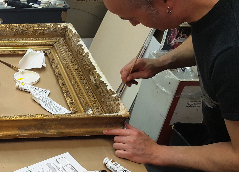 Vintage frame repair with gesso and gold paint