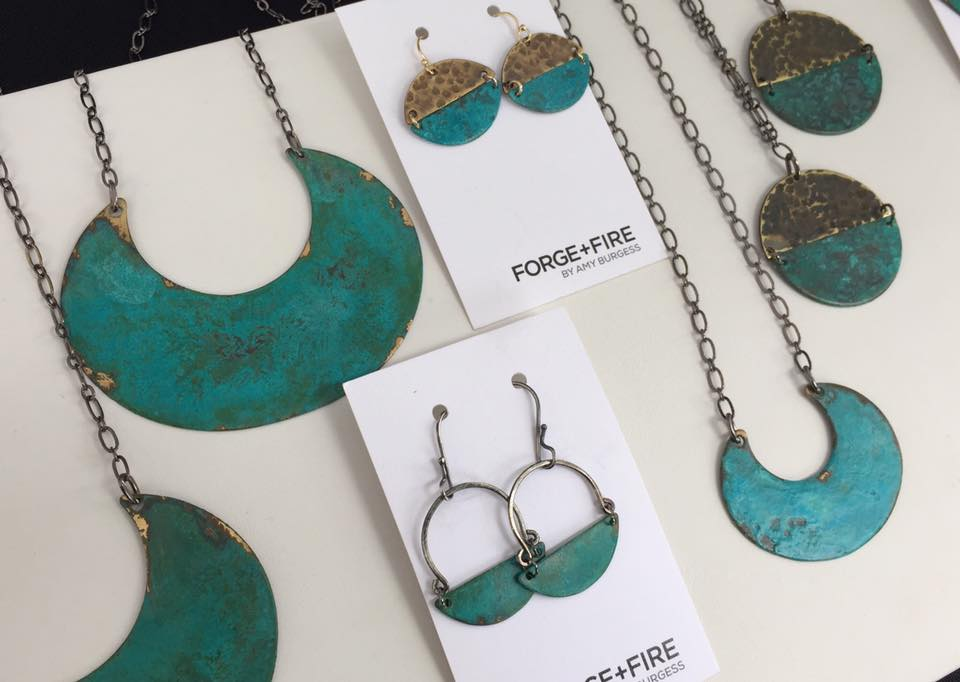 Patina on Brass jewelry  by Forge & Fire of Portland, OR.
