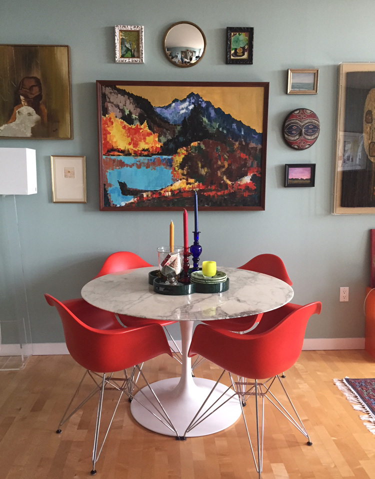 We helped a client install this fantastic gallery wall in her downtown apartment recently. The mix of shapes, colors, and sizes made it a challenging but fun puzzle! Even the lamp seems to be part of the final arrangement. Call us at 206.324.4742 to inquire about installation services.