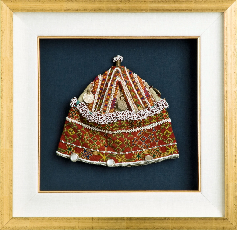 Tibetan Hat in Gold Frame and Filet - Filets are small