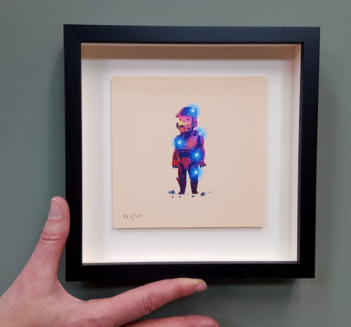 Small Modern Print in Museum Glass & Shadowbox - A group of small prints by a contemporary artist were framed to hang in a grid. Each piece was float-mounted inside a black modern frame with Museum Glass and a shadowbox for dimension.
