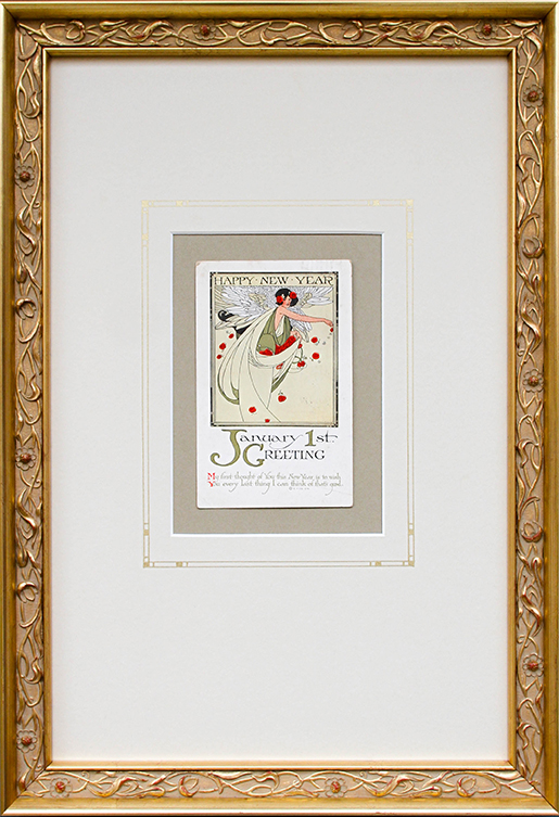 An Art Nouveau Card Shimmers in 14K Gold Museum Framing - This 19th C card was framed in an ornate 14K gold frame with a floral pattern to match the Art Nouveau period. Wide matting with a drop bottom and deep top create an elegant proportion. The mat has a hand-drawn french line accent with geometric details. All framing elements are conservation quality and Museum Glass completes the look.