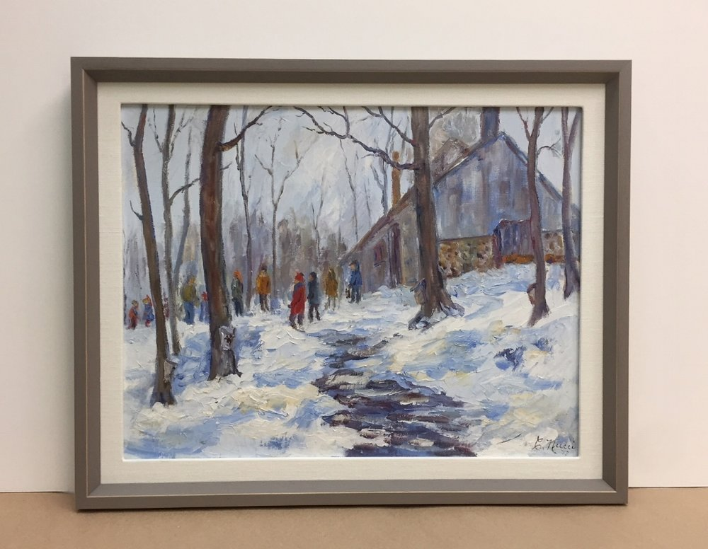 Winter Scene Framed in Rustic Wood and Linen Liner - Paintings on canvas boards can be framed a number of ways, and  most do not require glass. A soft white linen liner and rustic painted wood frame complement this vintage painting.