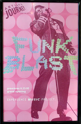 Funky Poster In Simple Black Gloss Framing and Non-Reflective Plexiglas - Music posters make a fun addition to a media room or casual office. The glossy black frame adds a little rock & roll touch to this simple design. Conservation Non-Glare Plexiglas protects the poster and can be safely placed on the art.