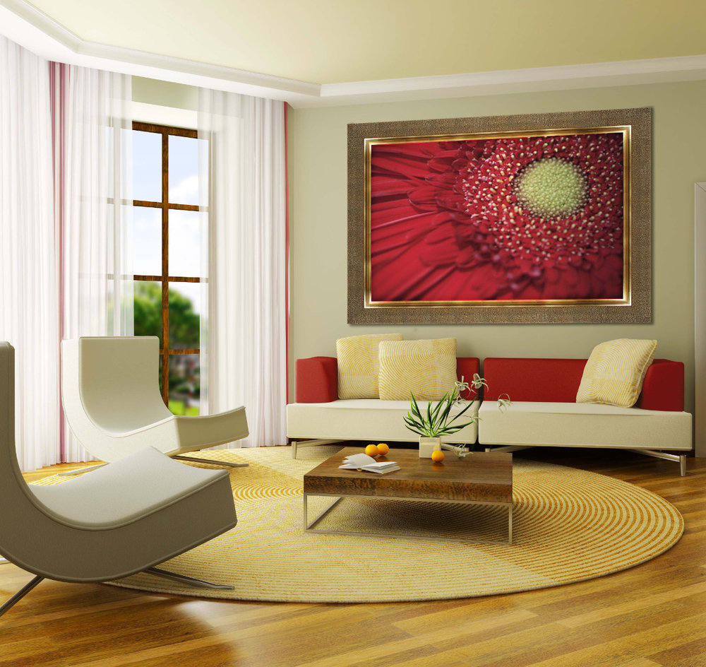 Large-Scale Artwork Makes a Statement in Any Room - Investing in a large painting or poster for a key space pays visual dividends. Smaller prints and art items can be displayed nearby. A wide textured frame by Larson Juhl completes this stylish interior.