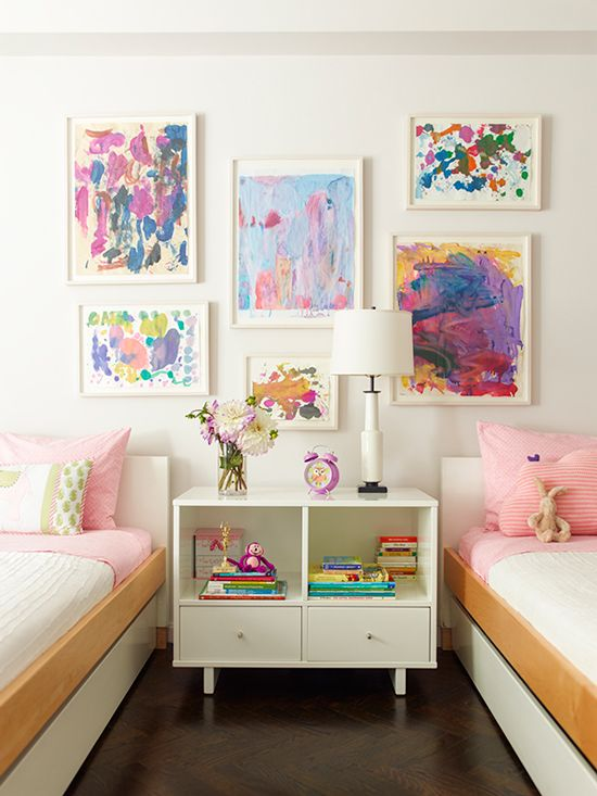 White Frames For Colorful Abstract Paintings by a Young Artist - White frames are a hot design trend that is perfect for kid's art or fun groupings of small originals. Modern and light, white frames complement colored artwork. Add conservation glass or plexiglas to protect children's art from light damage, dust, and dirty fingers.