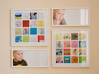 Mix It Up And Create Your Own Kid's Gallery - Photos and children's drawings combine here to make a balanced grouping. White frames keep it simple and connected.