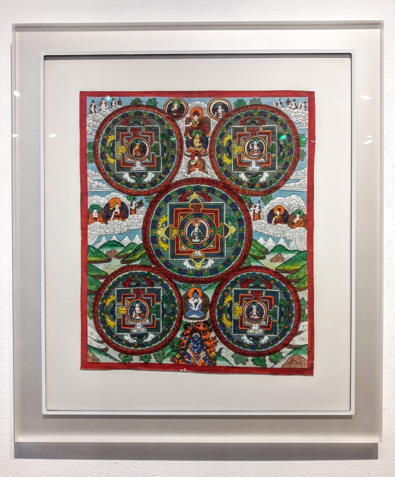 Silver Prisma Frame and Museum Glass on Buddhist painting for an ethereal, floating look.