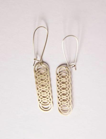 Cut Brass Repeated Circle Earrings