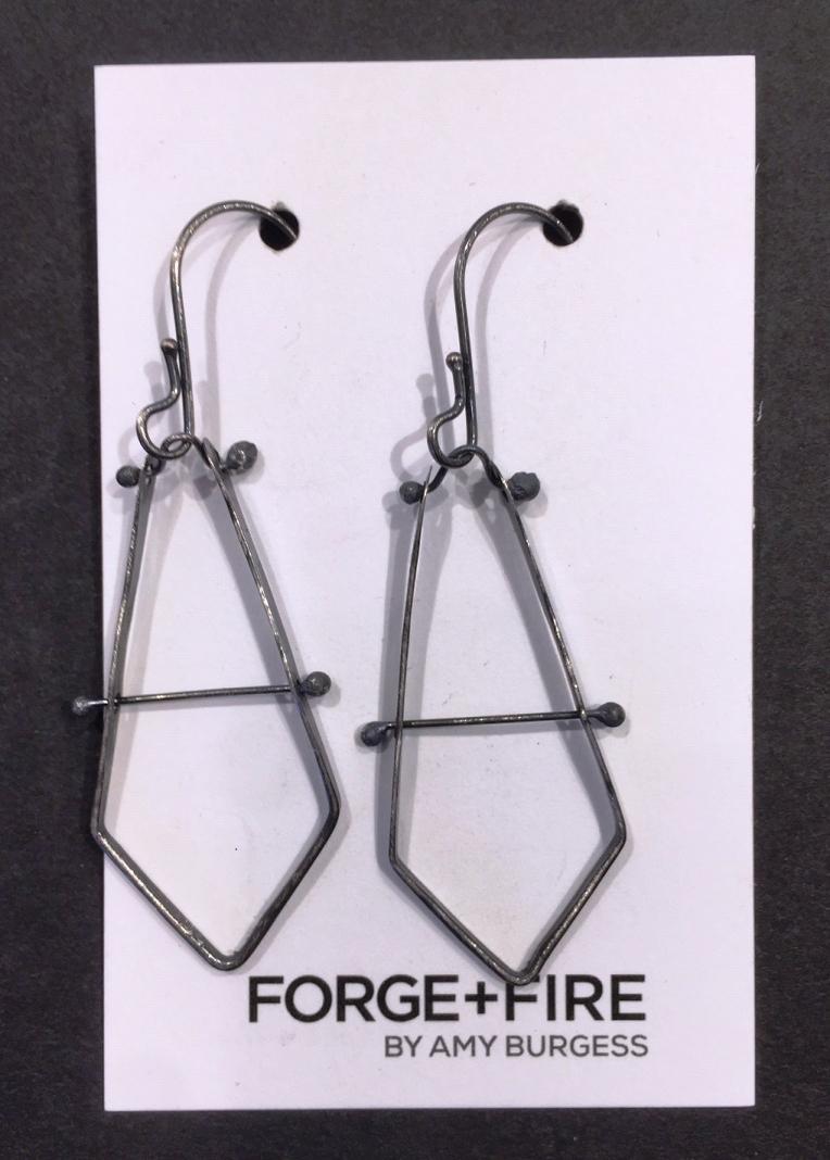 Blackened Silver Chevron Earrings
