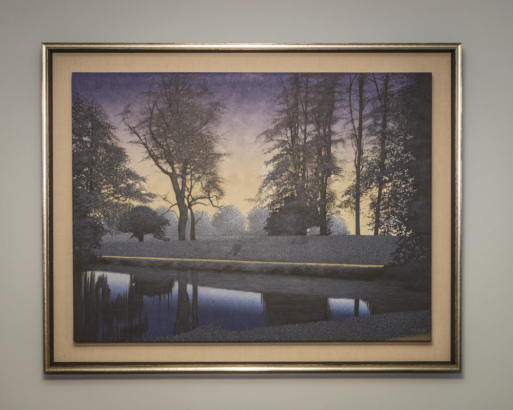 Ethereal Landscape Painting in Float Frame - This elegant painting needed a framing solution that didn't box it in. Float mounting on linen with a silver gilt frame was the perfect solution.