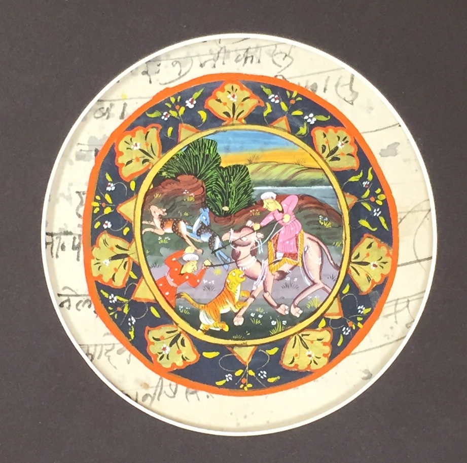 "Indian Miniature Painting in Circle Mat - This wonderful painting from India is less than 4"" across. We cut a circle mat to give dramatic focus on the art, while leaving a border that shows the recycled paper it was painted on."
