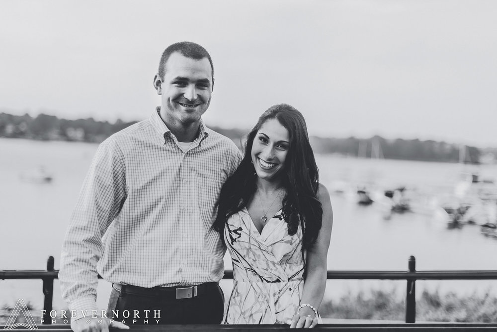A black and white portrait at riverside gardens in red bang for this engagement shoot