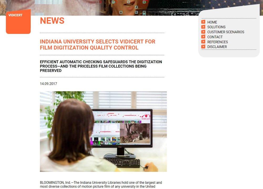 IU Selects VidiCert for Film Digitization QC - 14 September 2017