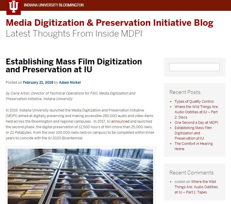 Establishing Mass Film Digitization and Preservation at IU - 21 February 2018