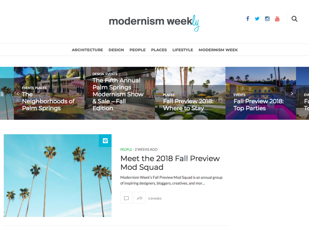 SA created Modernism Week's official blog, Modernism Weekly.