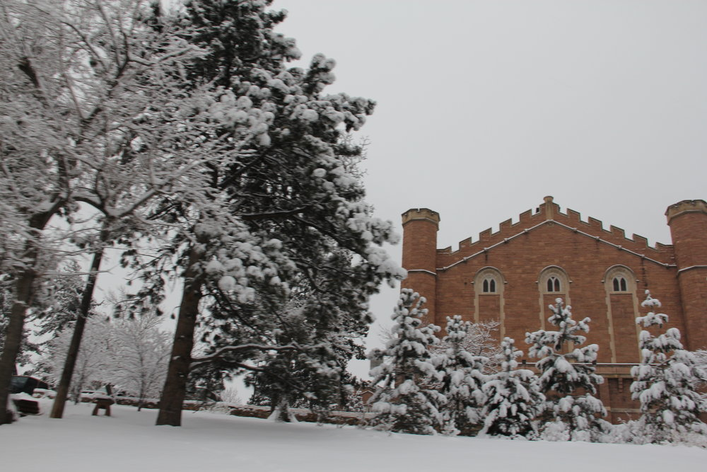 The snow outside Macky Auditorium at CU-Boulder.