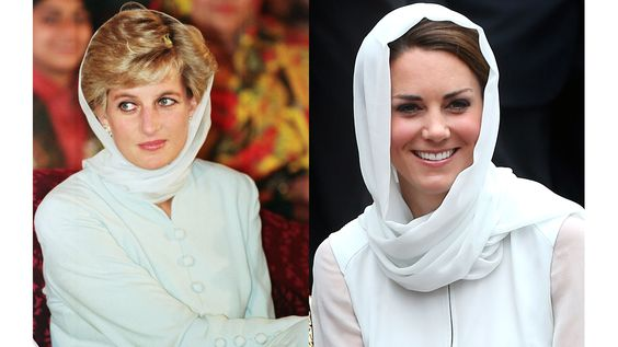 Diana visits Shaukat Khanum Memorial Hospital in Pakistan in 1996. Kate visits Assyakirin Mosque in Malaysia in 2012..jpg