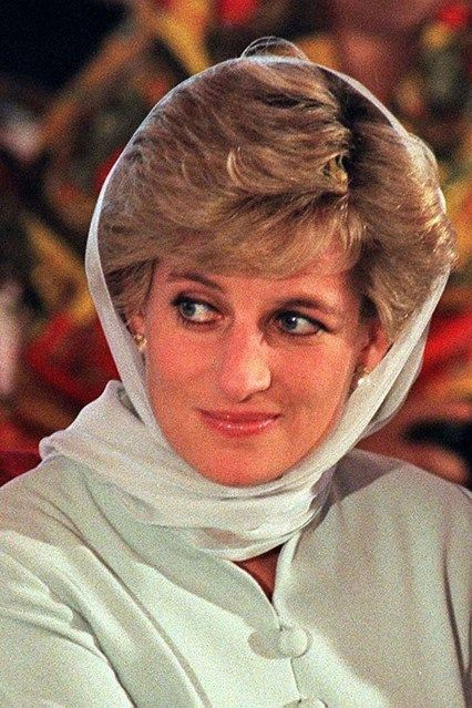 FEBRUARY 1996 - Diana covered up with a headscarf for a visit to the Shaukat Khanum Memorial cancer hospital in Lahore, Pakistan..jpg