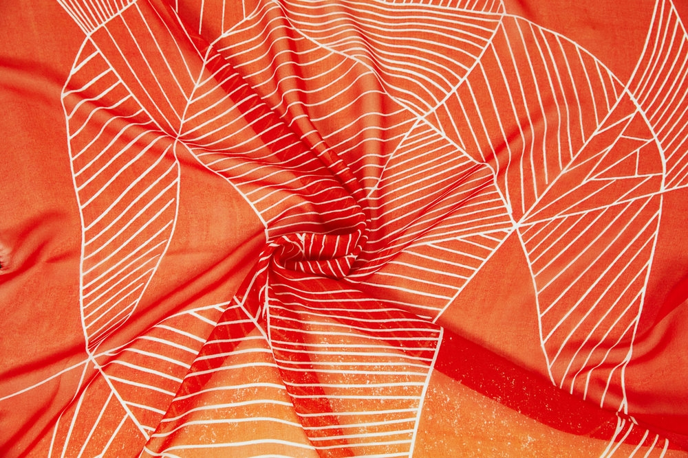 Orange silk chiffon scarf