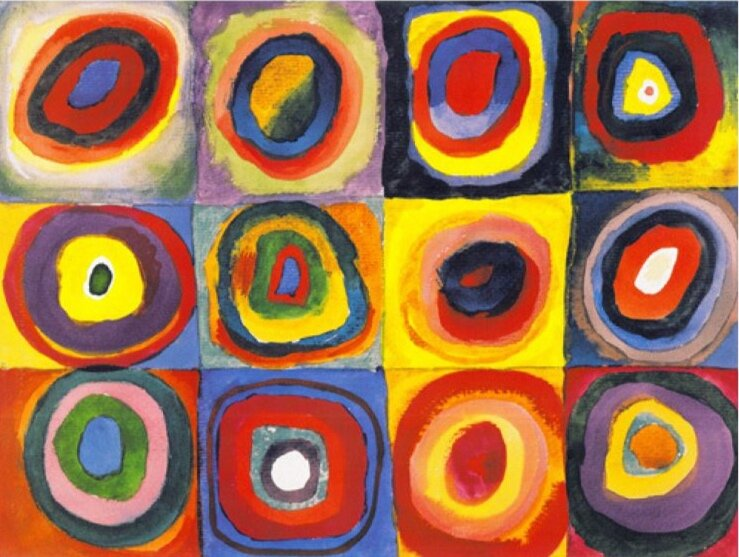 Colour Study - Squares And Concentric Art print by Wassily Kandinsky.jpg