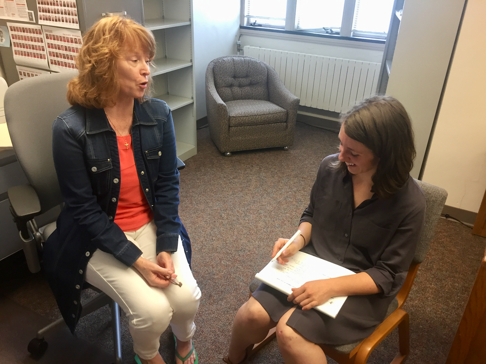 My teammate Emily interviews a registered nurse and professor at IU's School of Nursing.