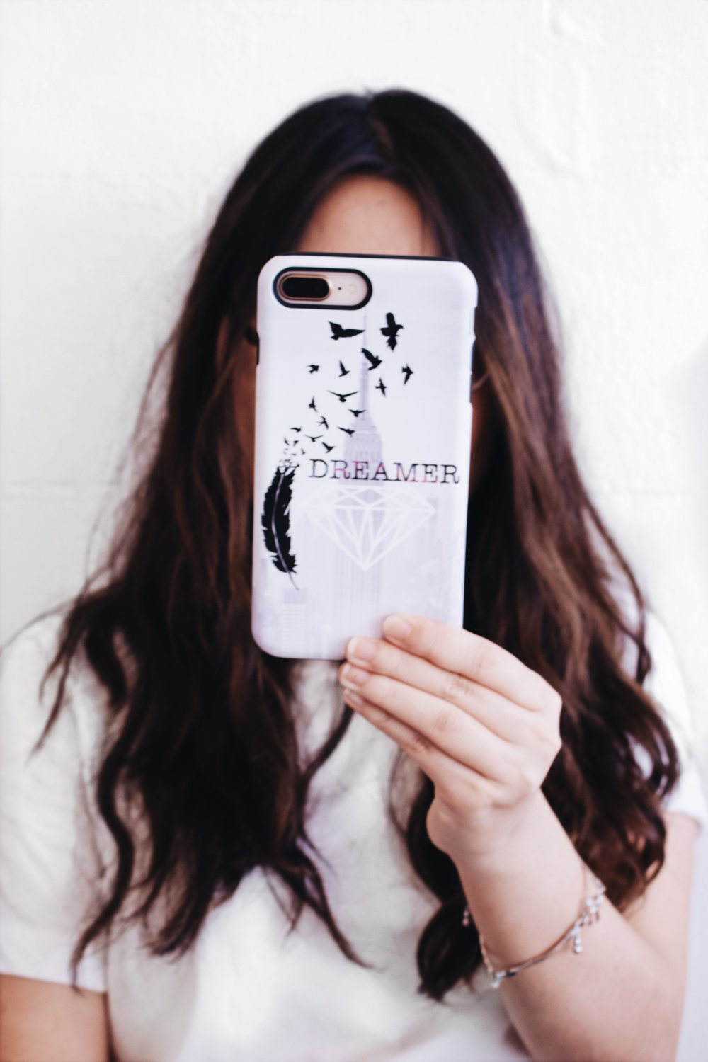 I actually designed this case. The last one was kind of inspired by the calligraphic paintings in old Chinese texts. I love to use my personal accessories as a way to express myself. This case is about how much I love birds, how in person I hope to be as tough as a diamond (I am also an ADPi) and my love for the city (remember that anything is possible!!)