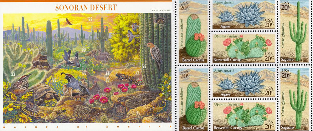 1999's Sonoran Desert ( Scott #3293 ) and 1981's Desert Plants ( Scott #1942-1945 )