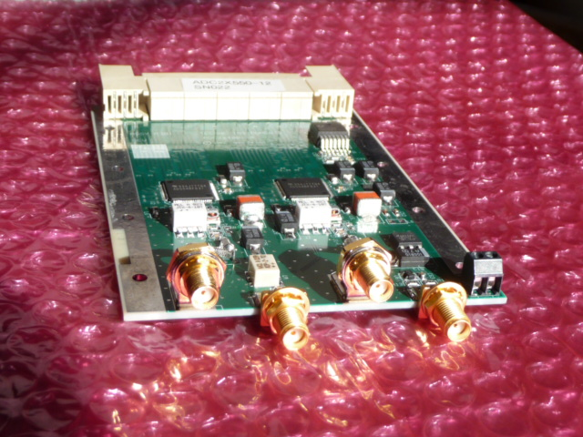 ADC2X400-14 - Two channels of A/D conversion, 400MSPS, 14-bits,(2 ea ADS5474) occupies one ZDOK connector.schematicPrice: $1500 Qty in stock: 4