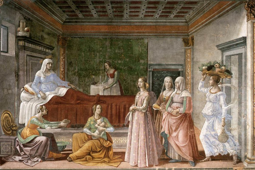 The Birth of Saint John the Baptist  by Domenico Ghirlandaio, public domain