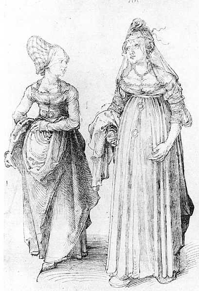 Nuremberg and Venetian Women  by Albrecht Dürer, Venice, public domain