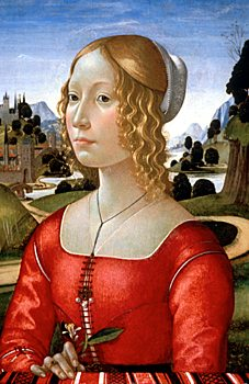 Portrait of a Lady  by Domenico Ghirlandaio, circa 1490, wikimedia