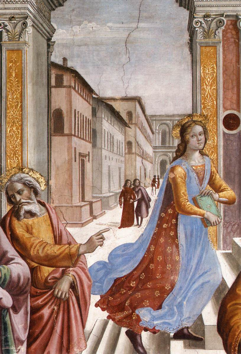 Detail from  Presentation of the Virgin at the Temple    by Domenico Ghirlandio, Florence, public domain