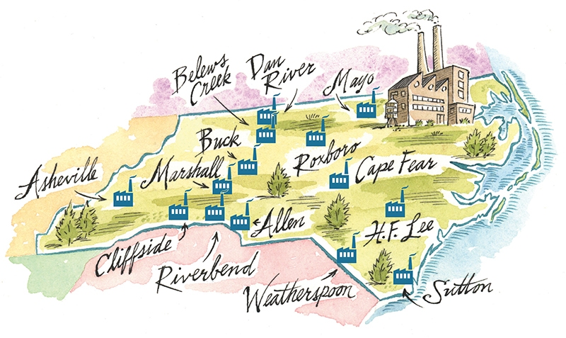 Map of Duke Energy Utilities across North Carolina,  Source: Charlotte Magazine