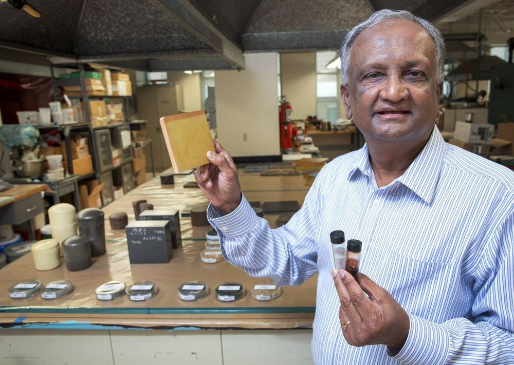 Dr. Kunigal Shivakumar shows lightweight material made out of coal ash and polyurethane. Photo Credit: H. Scott Hoffman,  Scientists at NC A&T make coal ash breakthrough ,  Greensboro News & Record .