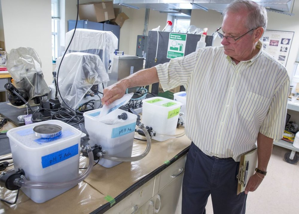 Wade Brown in the lab, July 2016. Photo Credit: H. Scott Hoffman,  Scientists at NC A&T make coal ash breakthrough ,  Greensboro News & Record .