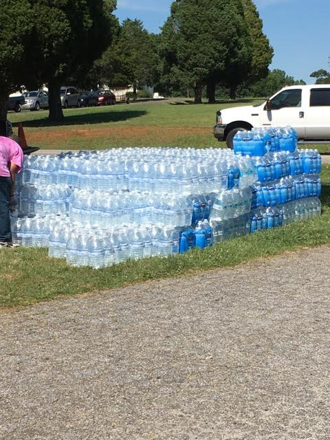 Donated water for the Buck Community