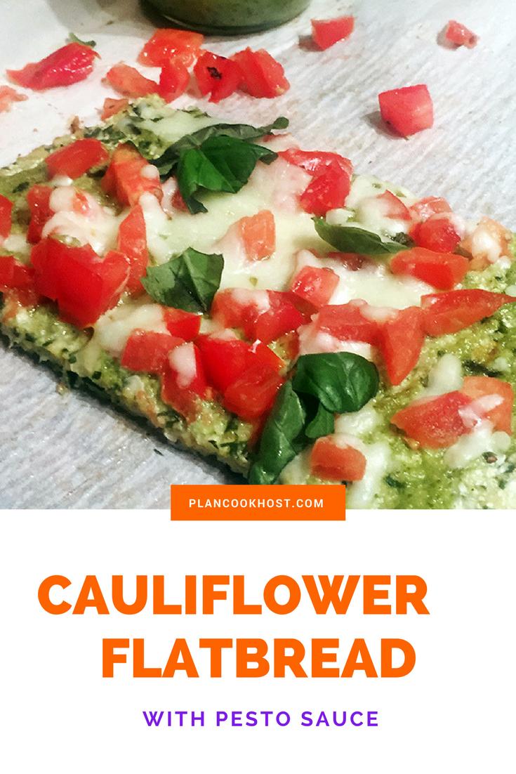 Cauliflower Flatbread w/ Pesto Sauce