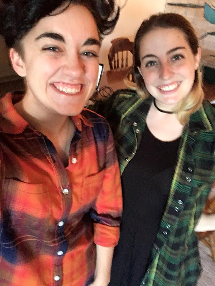 Here's Christina (left) and Jenn on the first day of recording.  We...both showed up in flannel...to our first queer podcast episodes.