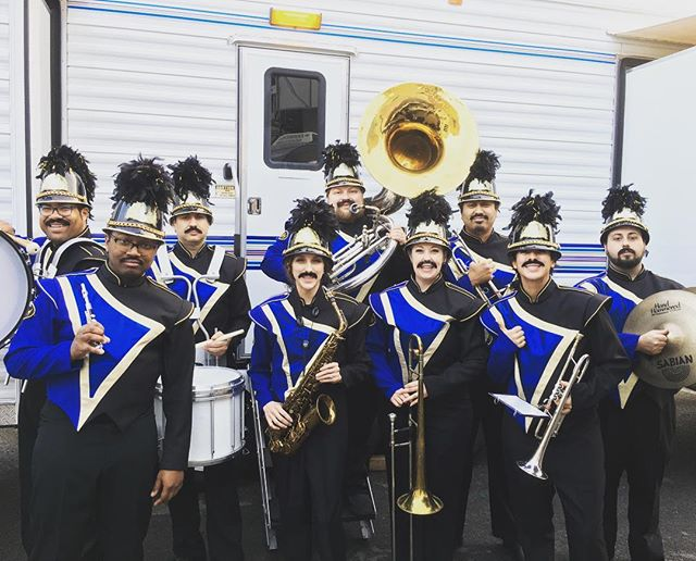 Thanks to @jimmykimmellive and #guillermo for having us on last night!! #chevy #silverado pulled us down #hollywoodblvd on a float!! #stache #mustache #marchingband #kimmel #jimmykimmellive #jimmykimmel