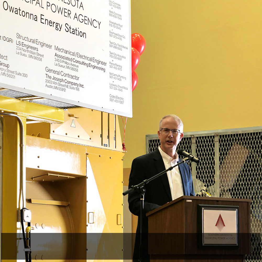 SMMPA Executive Director and Chief Executive Officer Dave Geschwind addresses the crowd during the Owatonna Energy Station dedication ceremony.