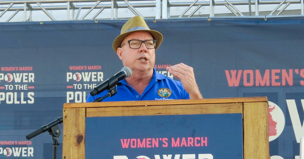 David Richardson speaking at the Women's March in Miami, Florida on January 21, 2018.
