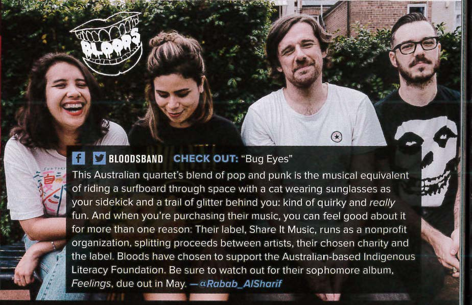 """Bloods included as one of Alternative Press's """"12 Bands You Need to Know"""" in March 2018, Issue #356. Image courtesy Alternative Press."""