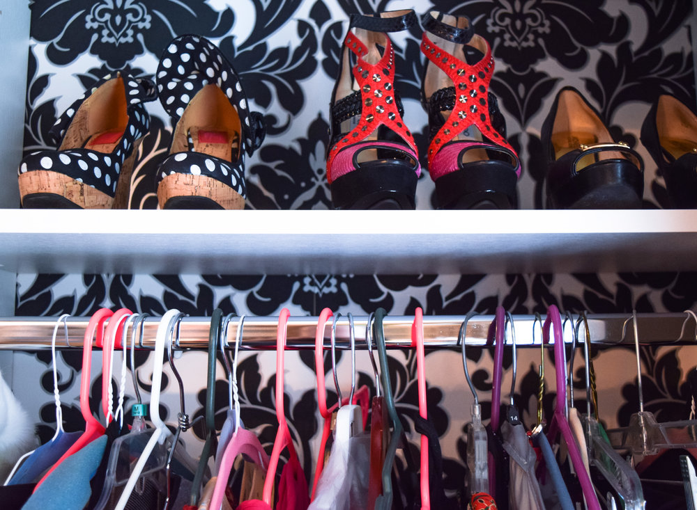 Master Closet wallpaper and shoes.jpg