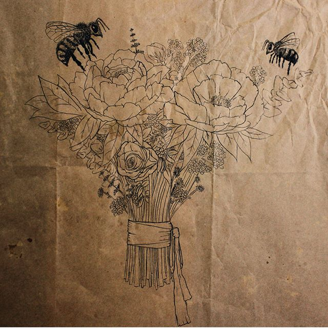 """Save the Bees"" - Pen drawing on recycled floral wrap, 12x12"