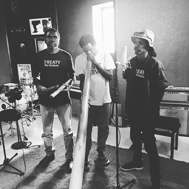East Arnhem Land in the house today. Beautiful songs with the founder of Yothu Yindi. #redmoonstudios