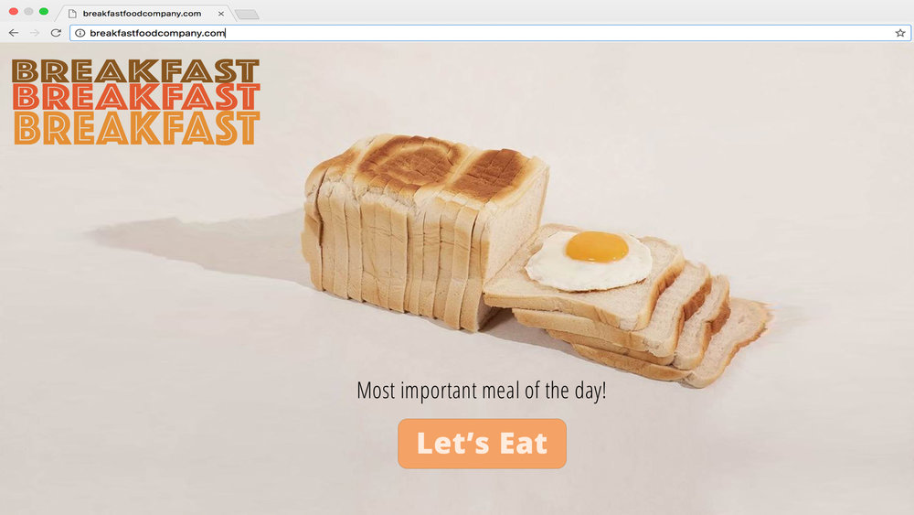 70s themed landing page for a made-up breakfast company!
